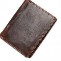 Buy cheap Leather brief paragraph Man purse Vertical head layer cowhide Han edition from wholesalers