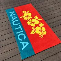 Red Hibiscus Patterned Beach Towels , Rosa - Sinensis Cotton Bath Towel
