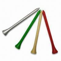 Buy cheap Golf Tees in Various Classic Colors, Made of Wood, Customized Logos are Accepted from wholesalers