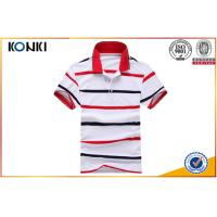 Buy cheap Personalised Custom Blue And White Striped Polo Shirts For Man from wholesalers