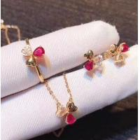 Buy cheap Red Real Gemstone Jewelry Ruby Diamond Wedding Set In 18K Rose Gold from wholesalers