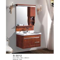 Buy cheap Antique Solid Oak Bathroom Vanity With Top Single Basin Wooden Framed Mirror from wholesalers