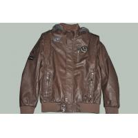 Buy cheap OEM Size 50, Black / Coffee and Designer Male Fitted Hooded Leather Jackets for Gentleman from wholesalers