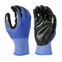 Buy cheap N1008 13 Gauge Blue U3 Polyester Liner, with Black Nitrile Palm Coating, Smooth Finished from wholesalers