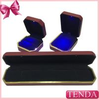 Buy cheap Top Rated High Quality Expensive Red Leather Velvet LED Lighting Jewellery Jewellry jewelry box product