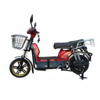 Buy cheap 450W Adult Electric Bicycle Red Battery Operated Bikes With Motorcyle Seat Steel Frame product
