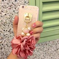 Buy cheap Soft TPU Pink&Blue Pearls Fancy Chain Cell Phone Case Back Cover For iPhone 6 6s Plus from wholesalers