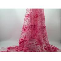 Buy cheap French Wedding Lace 3d Embroidery Fabric Yellow Pink Flower 100% Polyester Material from wholesalers