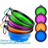 Buy cheap Wholesale Silicone Portable Food Grade Unbreakable Stocked Colorful Collapsible Pet Dog Bowl With Hook, Portable Foldabl from wholesalers