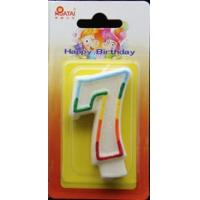 Buy cheap 100% Handmade Birthday Number Candle with Rainbow color Edge and Gliter inside from wholesalers