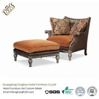 Buy cheap American Style Leather Lounge Chair And Ottoman Upholstered Wood Frame For Living Room from wholesalers