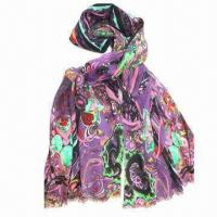 Buy cheap Women's Printed Scarf in Plain Organization, Worsted Wool with 60s/2, Measures 70 x 180+10 x 2cm from wholesalers
