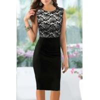 Buy cheap Pinup Elegant Floral Lace Tunic Dress Knee-Length Colorblock Shift Bodycon Casual Pencil from wholesalers