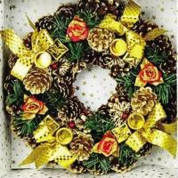 Buy cheap Artificial Wreath for Home Decoration/Christmas, Decorated with Bows, Flowers, Small Bell/Pine Cone from wholesalers