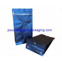 Buy cheap Blue block bottom bag, flat bottom pouch bag with front zip for 1kg coffee from wholesalers