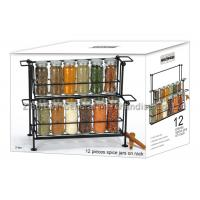 Buy cheap SGS/FDA 12 pieces small glass spice jars with lids on rack 2 tier , 90ml for spicy from wholesalers