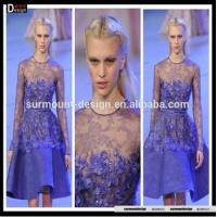 Buy cheap SM2031 New Style Elie Saab Sheer Lace Flowers Beaded Knee Length Long Sleeve Designer Dresses from wholesalers