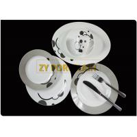 Italy Grey  21 Pieces Round Ceramic Dishware Sets Food Safety Home Usage