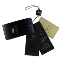 Buy cheap Luxury Shining Paper Clothing Hang Tag Personized Darkbrown Nylon Strings from wholesalers