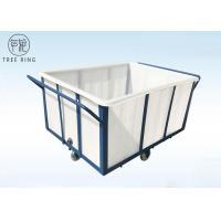 White 1000kg Rotational Poly Box Truck , Heavy Duty Wheelie Poly Laundry Carts