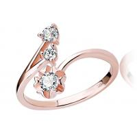 Buy cheap Trendy Accent 925 Sterling Silver Rings Two Crystal With Flower For Girl from wholesalers