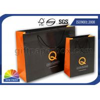 Buy cheap Glossy Black Custom Paper Shopping Bags with PP Rope Handle , OEM / ODM Wrapping Bag from wholesalers
