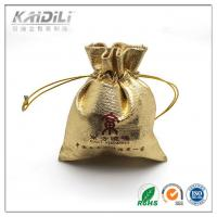 Golden Satin Jewelry Pouch 7*8cm , Drawstring Jewelry Bags Button Closure