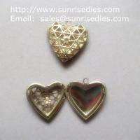 Buy cheap Mesh brass heart shaped photo locket for diy jewelry, copper heart locket from wholesalers