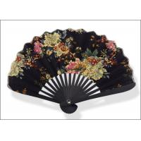 Buy cheap 17 Ribs Sublimation Folding Handheld Fan Black Cotton Nostalgic Style Gifts Use product