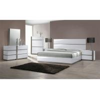 European White High Gloss 5 Drawer Chest , King Size High Headboard Beds