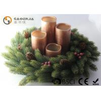 Buy cheap 4pk Bronze Painted Lined Finish Flameless Wax Led Candles With Plastic Wreath Set from wholesalers