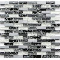 Buy cheap Black and white rectangle crack crystal glass mix metal mosaic tile from wholesalers
