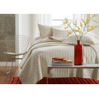 Buy cheap Square Embroidered Solid Dune Quilt Set , 100% Cotton 3Pcs White Quilt Set from wholesalers
