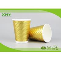 Buy cheap 16oz Golden Metallic Diamond Double Wall Paper Cups for Coffee Hot Drink with Lids FDA Certificated from wholesalers