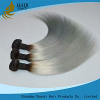Buy cheap 12 Inch Gray Colored Virgin Hair Weft Extensions Straight Long Lasting No Shedding from wholesalers