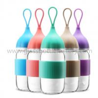 Buy cheap 300ml Clear Water Glass Bottle With Blue Cap For Gift from wholesalers