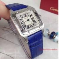Buy cheap Cartier Santos Diamond Face 36mm Blue Leather Band Watch from wholesalers