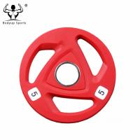 Buy cheap Wholesale Tri-grip Rubber Coated Cast Iron Grip Weight Plates from wholesalers