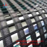 China High Strength Warp Knitted Polyester Geogrid on sale