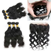 Buy cheap Double Weft 360 Lace Frontal Closure / 360 Full Lace Frontal Wig Natural Wave from wholesalers