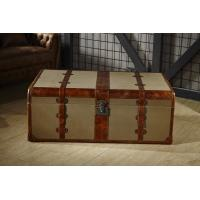 Buy cheap Retro Canvas Lifted Cover Leather Steamer Trunk Coffee Table Copper Nails Decoration from wholesalers