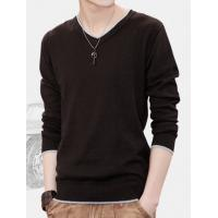 Buy cheap Long-sleeved t-shirt men's V-neck t-shirt youth solid color cotton T-shirt men from wholesalers