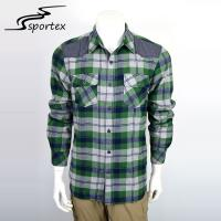 Buy cheap Green And White Checkered Button Down Shirt , Mens Outdoor Clothes XS - 2XL from wholesalers
