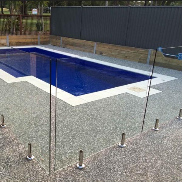 Cheap portable swimming pool fence spigot frameless glass