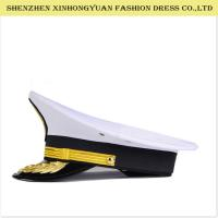 Buy cheap Adjustable White Military Peaked Cap Embroidery Navy Captain Hat 56-58cm from wholesalers
