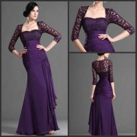 Buy cheap Taffeta Sweetheart Lace Formal Mother Of Bride Dresses 3/4 Sleeve in Purple from wholesalers