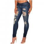 Buy cheap Dark sandblast wash denim destroyed skinny jeans, made of 85%Cotton +10%Polyester+5%Elastane from wholesalers