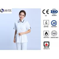Buy cheap Cotton Disposable Medical Clothing Round Neck Elastic Knitted Cuff Easy Cleaning product