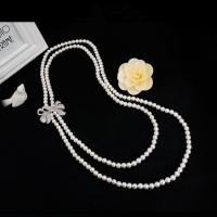 Buy cheap Women White Shell Pearl Double Strands Sweater Necklace with Cubic Zirconia Bow Charm (SN702143BOW) from wholesalers