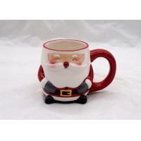 Fashionable 3D Ceramic Mug Handmade Slip Casting Santa Face Mugs For Drinking